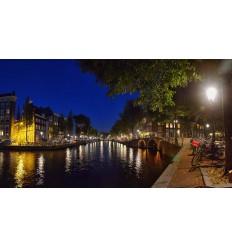 Fotowand fotobehang muurposter Amsterdam gracht avond