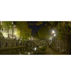 Fotowand fotobehang muurposter Oude Gracht Utrecht avond
