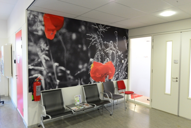 Fotowand wachtkamer zorgcentrum. fotowandenshop.nl